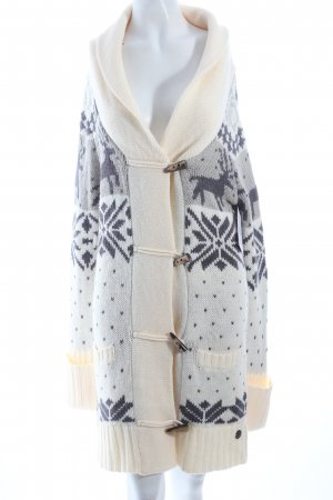 QS by s.Oliver Strick Cardigan creme-grau abstraktes Muster Nude-Look