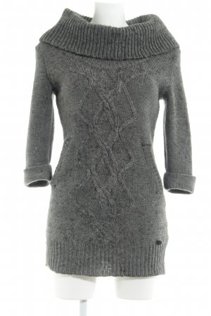 QS by s.Oliver Strickkleid dunkelgrau Zopfmuster Casual-Look