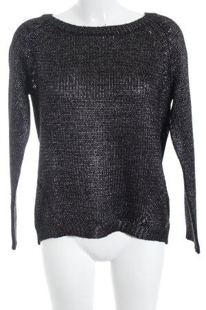 QS by s.Oliver Gebreide trui zwart-zilver glinsterend