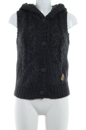 QS by s.Oliver Gilet tricoté gris anthracite-noir torsades molletonné