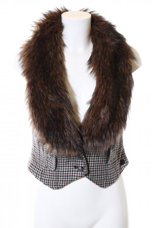 92d8c195a48a QS by s.Oliver Knitted Vest brown-natural white check pattern vintage look