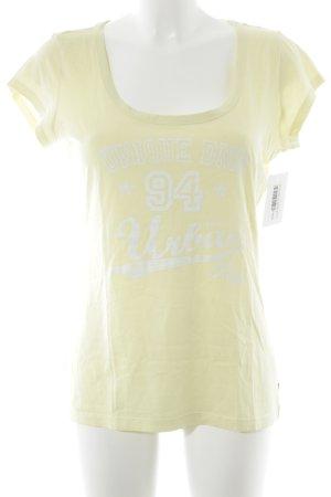 QS by s.Oliver T-Shirt blassgelb-wollweiß Schriftzug gedruckt sportlicher Stil