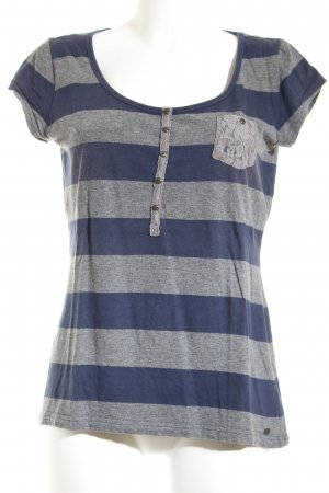 QS by s.Oliver T-Shirt dunkelblau-grau Ringelmuster Casual-Look