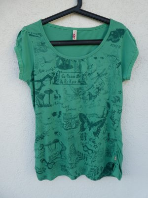 QS by s.Oliver – T-Shirt, grün mit Aufdruck – Gebraucht, fast wie neu