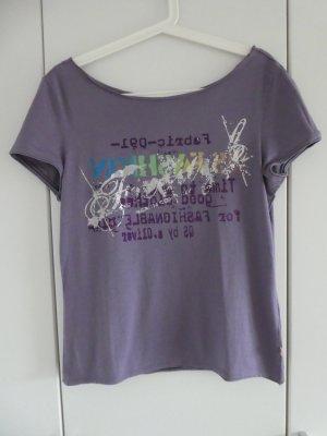 QS by s.Oliver  – T-Shirt, lila mit Aufdruck – Gebraucht, fast wie neu