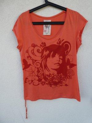 QS by s.Oliver – T-Shirt, orange mit Aufdruck – Gebraucht, fast wie neu