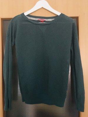 QS Pullover in netzoptik grün L