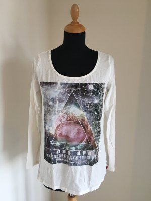QS Q.S. S Oliver Shirt Longsleeve extra fein weich Print weiß  Deep r roundneck leicht Luxus