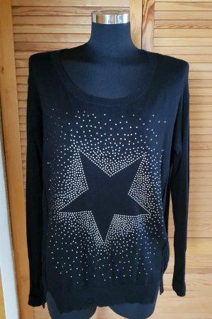 Qs. s.Oliver Oversize Long Pullover mit Nieten lässig geschnitten schwarz S /M