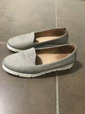 Sandales confort argenté-blanc cuir