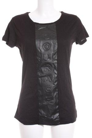 Quantum Courage T-Shirt schwarz Schriftzug gedruckt Casual-Look