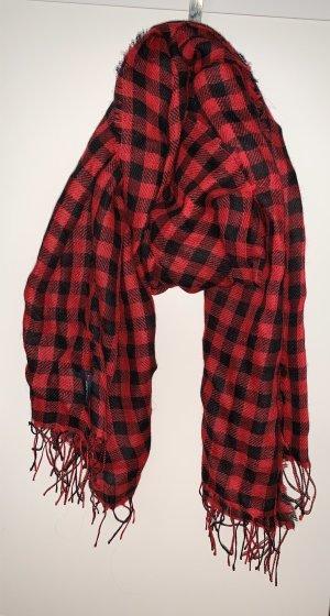 Woolrich Wollen sjaal zwart-baksteenrood Scheerwol