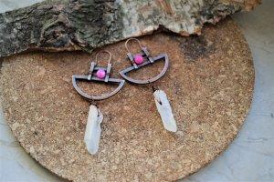 Quartz kristall Ohrringe Creolen mit Pink Achat