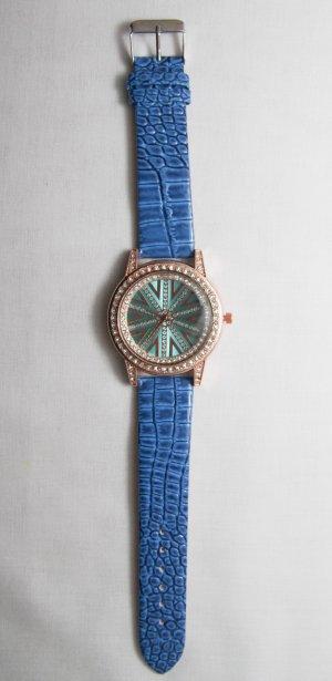 Quarz Armbanduhr, Kunstleder mit Strass