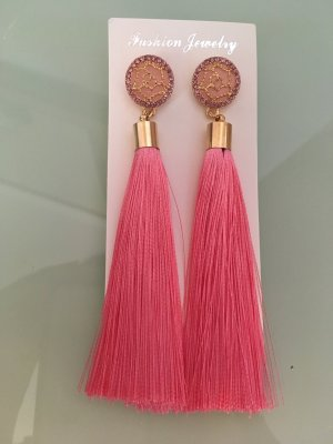 Quasten Ohrringe pink