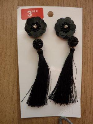 Quastenohrhänger Blumen Ohrringe Blüten Tassel Statementschmuck schwarz