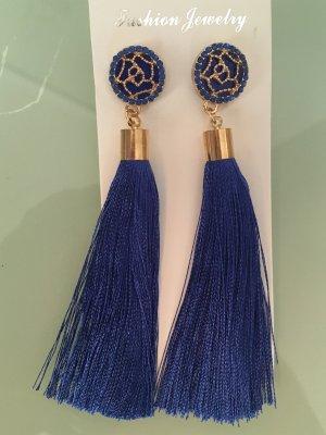 Quastenohrringe blau