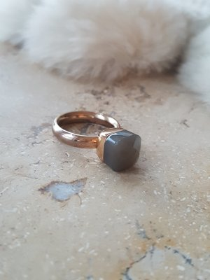 Statement ring grijs-roségoud
