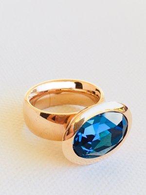 Lizas Ring rose-gold-coloured-dark blue stainless steel