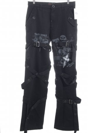 Queen of Darkness Low-Rise Trousers black-grey themed print gothic look