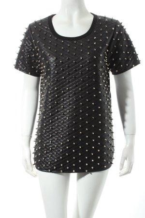 Queen Shirt schwarz-silberfarben Steppmuster Biker-Look
