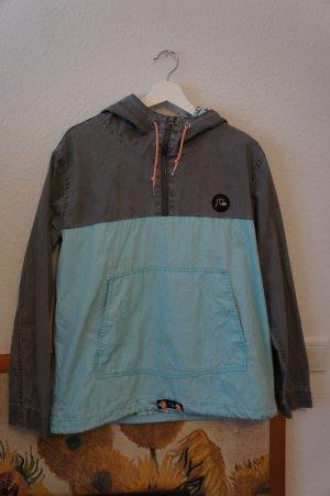 quicksilver functional hoodie S M 38 40 grau blau surf skate unisex