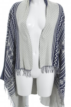 Quicksilver Knitted Poncho natural white-dark blue mixed pattern Boho look