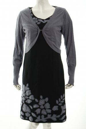 Quiero Jerseykleid schwarz-kornblumenblau florales Muster Casual-Look