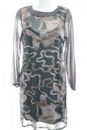 Quiero Midikleid altrosa-waldgrün abstraktes Muster klassischer Stil