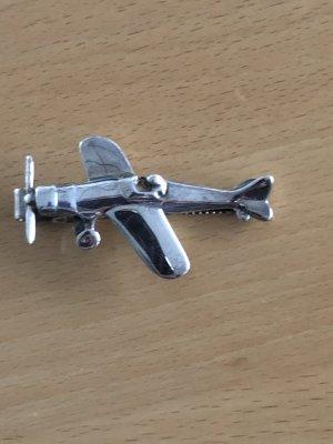 Quinn Krawattenklammer 925 Silber  Propeller Flugzeug
