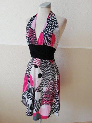 Quiz Sommerkleid Kleid kurz Neckholder Neckholderkleid Gr. UK 8 EUR 36 S schwarz pink neu
