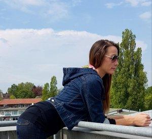 R.E.D. valentino Garavani jeansjacke mit kapuze