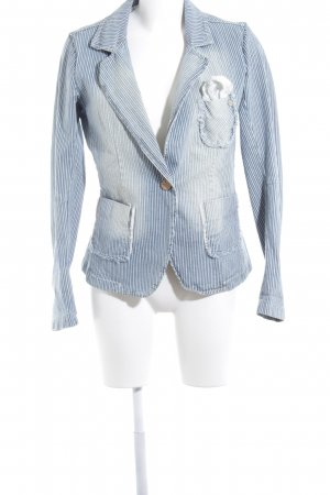R Jeans Denim Blazer white-dark blue pinstripe washed look