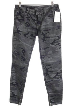 R Jeans Röhrenjeans schwarz-olivgrün Camouflagemuster Glitzer-Optik