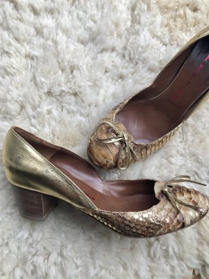 R&Renzi by Gianmarco Lorenzi Luxus Pumps Gold NP 230€ echt Leder Blogger 38,5