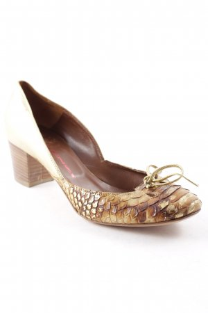 R&Renzi Mary Jane Pumps goldfarben-braun Animalmuster Country-Look