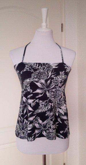 Rabatt!Neckholder-Shirt/Top in blau/weiß mit weißem Blumenmuster,Gr.S/36