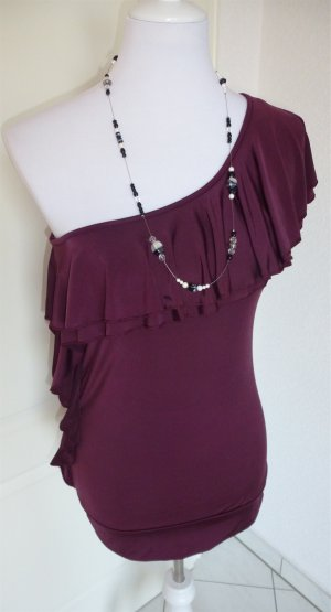 Rabatt♥One Shoulder-Party-T-Shirt/Top in taupe - festliches Outfit,Gr. 36♥