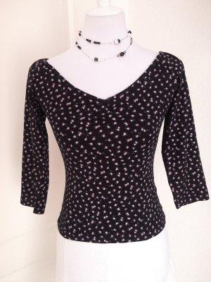♡Rabattaktion!süßes Shirt/Top in schwarz mit kleinen Blümchen,Gr.34/36/S