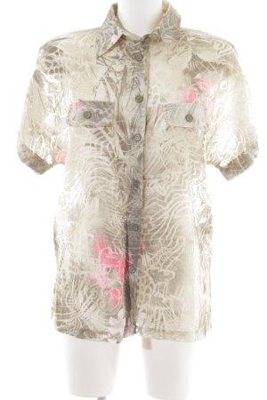 Rabe Kurzarm-Bluse abstraktes Muster Safari-Look