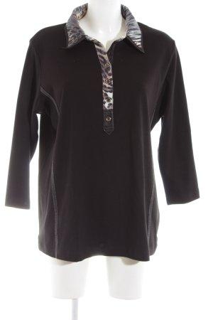 Rabe Polo-Shirt schwarz Animalmuster Casual-Look