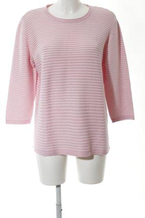 Rabe Rundhalspullover pink-weiß Streifenmuster Casual-Look