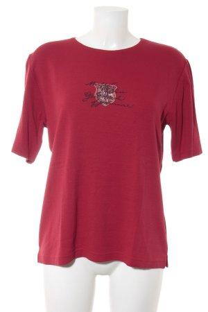 Rabe T-Shirt rot Schriftzug gedruckt Casual-Look