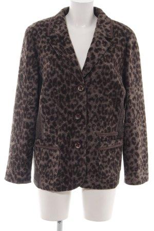 Rabe Blazer de lana marrón estampado de animales look casual