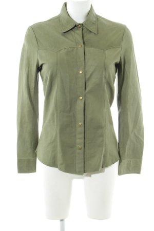 rabens saloner Leather Shirt khaki casual look