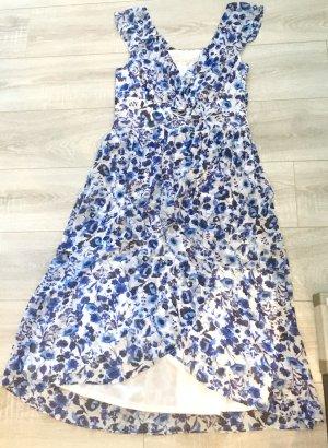 Rachel Roy Neu Kleid lang florales Muster blau weiß Gr 40 (L) Boho Hippie Festival