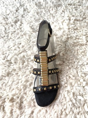 Rachel roy Roman Sandals black-gold-colored leather
