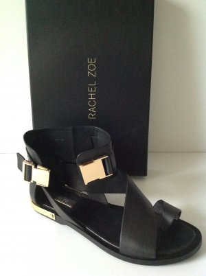 RACHEL ZOE Riemchen Leder Sandalette schwarz Gr. 7,5M DE 38,5