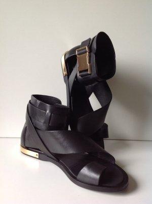 RACHEL ZOE RiemchenLeder Sandaletten schwarz Gr. 7,5M (38,5 EUR)