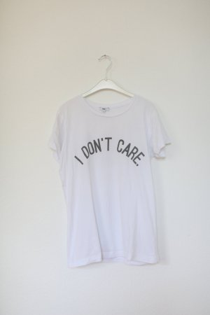 """Rad Shirt Print 'I don't care"""" Gr. S Weiß Used Look"""